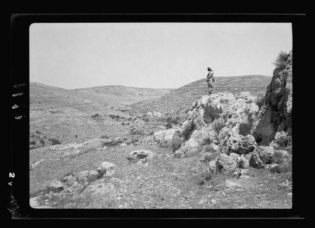 Solomon's Pools & ancient aqueducts. Course of Wadi 'Arrub aqueduct, showing, Artas in distant valley