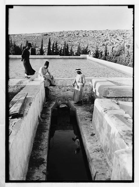 Solomon's Pools & ancient aqueducts. Inflow of Wadi el-Biyar aqueduct into the upper pool.