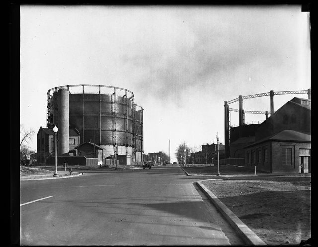 [Storage tanks; Washington Monument in distance. Washington, D.C.]