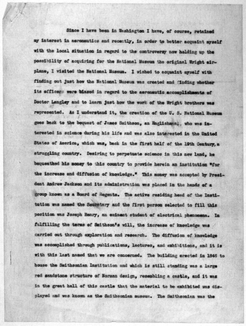 Subject File:  Smithsonian Institution--Dispute--Miscellany, 1934