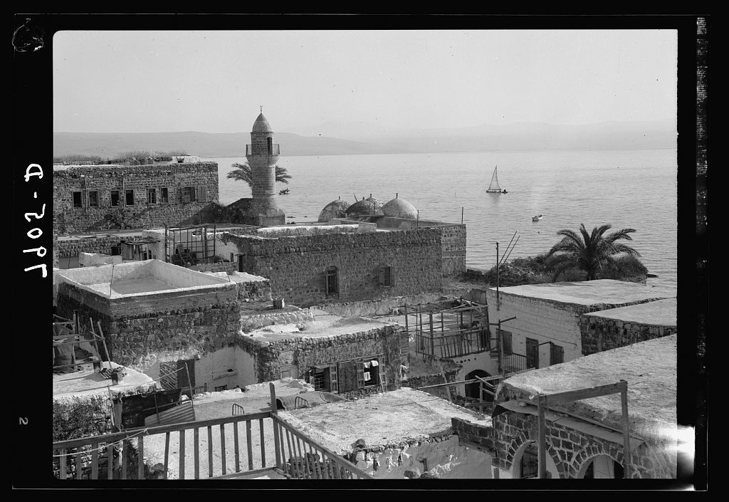 Telephoto. Mount Hermon from Tiberias. Moslem [i.e., Muslim] mosque in foreground