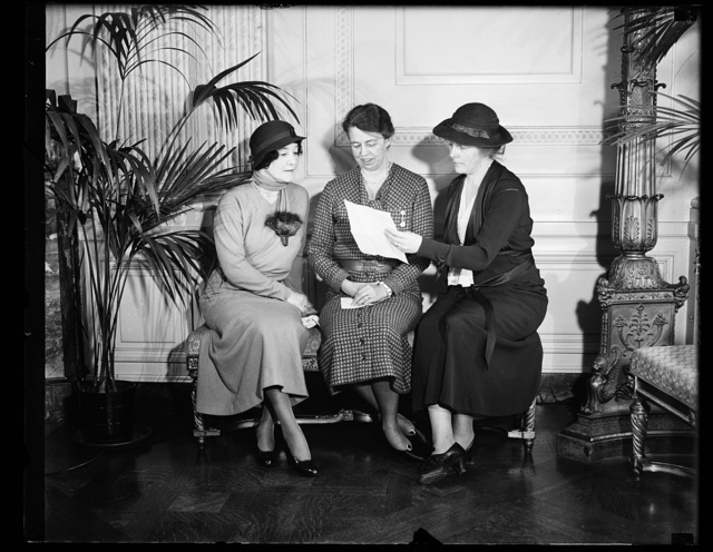 THREE PROMINENT WOMEN: FROM THE LEFT, MRS. MARY HARRIMAN RUMSEY, CHAIRMAN OF THE CONSUMERS ADVISORY BOARD OF THE N.R.A; MRS. ROOSEVELT; AND REP. ISABELLA GREENWAY OF ARIZONA. THIS PICTURE WAS MADE IN THE WHITE HOUSE ON ONE OF THE MANY AFTERNOONS THE THREE MEET THERE. WHEN MRS. ROOSEVELT HAS A PRESS CONFERENCE IT IS NOT UNUSUAL TO SEE THESE THREE TOGETHER