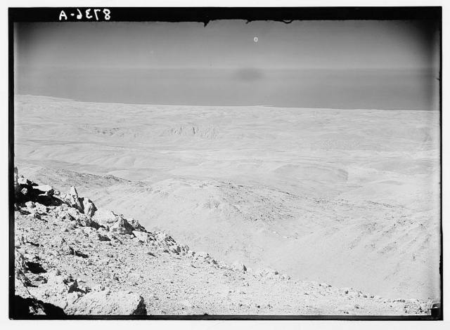 View from Mt. Hermon looking westward showing Litany Gorge and sea beyond with Tyre.