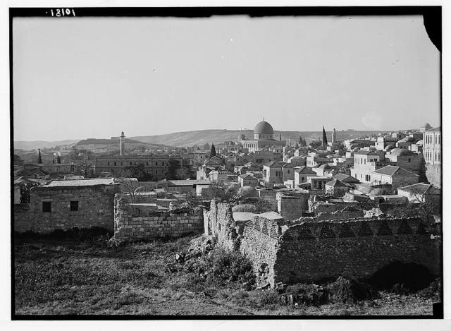 View of Jerusalem from the north city wall. Dome of the Rock prominent in centre of photo.