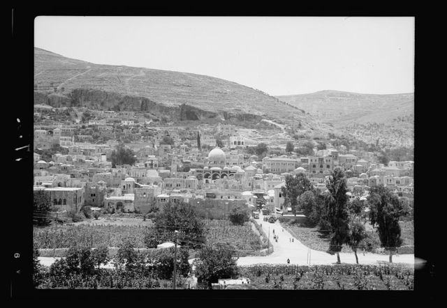 View of Nablus, showing Mt. Gerizim in background