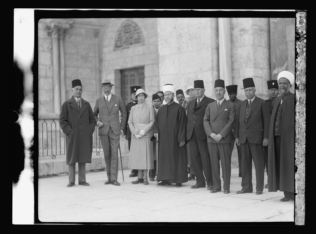 Visit of H.R.H. Princess Mary and the Earl of Harwood. March 1934. Princess Mary, The Earl of Harwood, and the Grand Mufti, etc. At the Mosque el-Aksa [i.e., al-Aqsa]