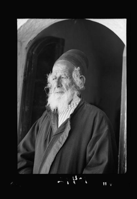 Yemenite Rabbi Shlomo in doorway of his home, the Cabalist, closeup