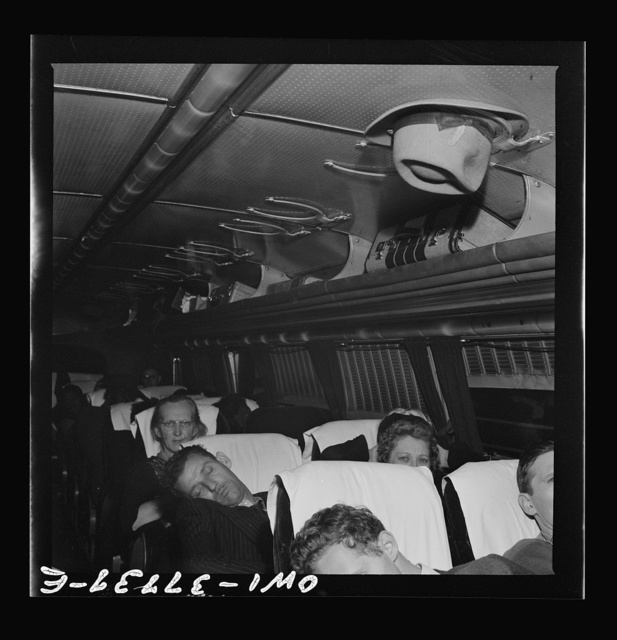 A Greyhound bus which is bound for Chicago, Illinois from Cincinnati, Ohio at two a.m.