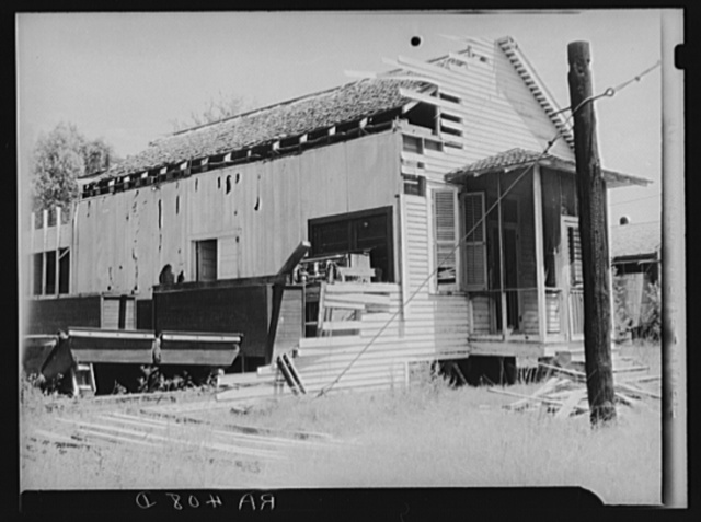 Abandoned amusement hall on a large sugarcane plantation. Plaquemines Parish, Louisiana