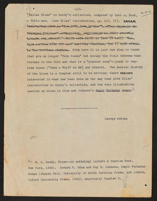 Alan Lomax Collection, Manuscripts, Negro Folk Songs as Sung by Lead Belly, 1935