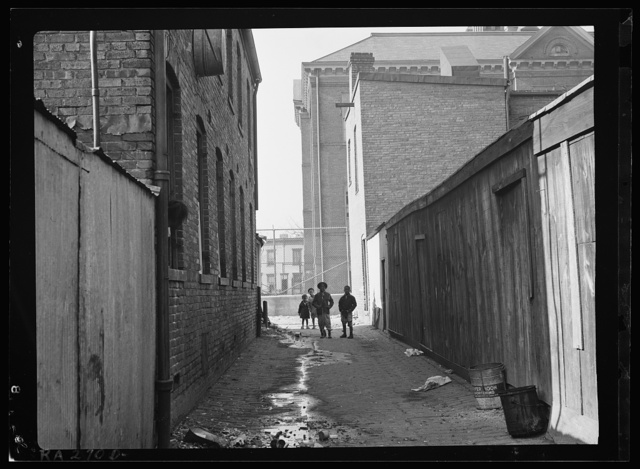 Alley near L Street, N.W. Blake School in background. Washington, D.C.