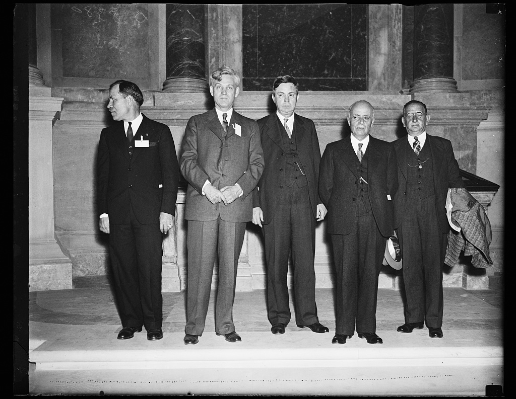 Archive group meets Mexican delegation representatives. Officials of the Archives building in Washington meet with representatives of a Mexican delegation visiting Washington, D.C. From the left: John G. Bradley, Chief of the Division of Motion Pictures, U.S. Archives building; Dr. Roscoe Hill, Chief of the Division of Classification; R.D. W. Conner, Archivist of the U.S.; Pedro Sanchez, Director of the Institute of Geography, Mexico F.D.; and his Assistant Octavio Bustamente, 10/19/35