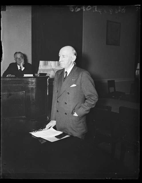 At vet dependence hearing. Brig. Gen. Frank T. Hines, Head of the Veterans Administration, gives testimony before a congressional committee which approved a bill which places a check upon those administering estates of former soldiers unable to handle their own affairs. 1/18/35