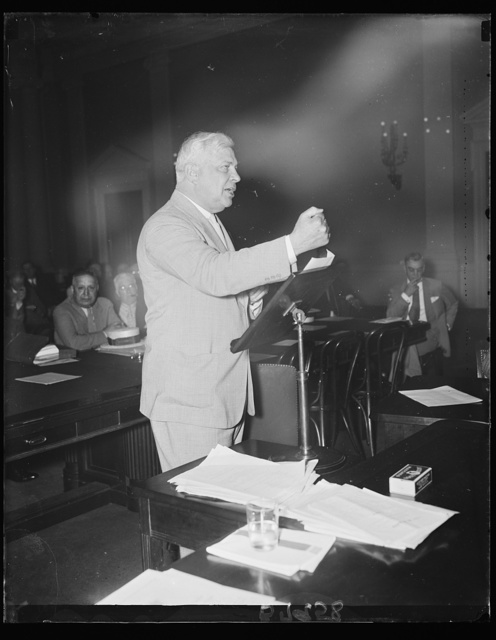 Attacks Guffey Bill. J. Van Norman, Counsel for the Operators' committee opposing the Guffey Coal bill, tells a sub-committee of the House Ways and Means Committee that the proposed legislation is unconstitutional. 6/21/35
