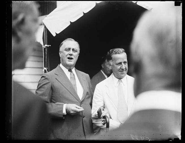 BIG STICK MAN. PRESIDENT ROOSEVELT, IN THIS PHOTOGRAPH MADE TODAY, LOOKS HALE AND HEARTY AS HE COMPLETES HIS 'BIG STICK' ACT WHICH RESULTED IN CONGRESS JUMPING THROUGH THE HOOPS OF HIS MUST LEGISLATIVE PROGRAM WITH BUT MINOR HITCHES