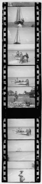 [Boats and people on beach, from Bahamas expedition, 1935]