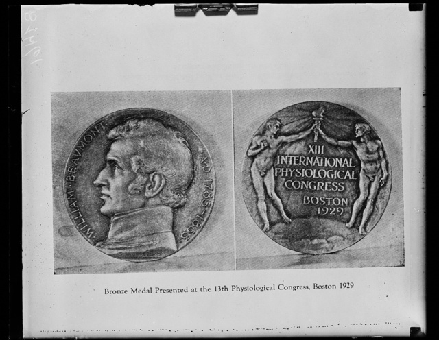 [Book page showing Bronze medal presented at the 13th Physiological Congress, Boston, 1929: William Beaumont, AD 1785-1853]
