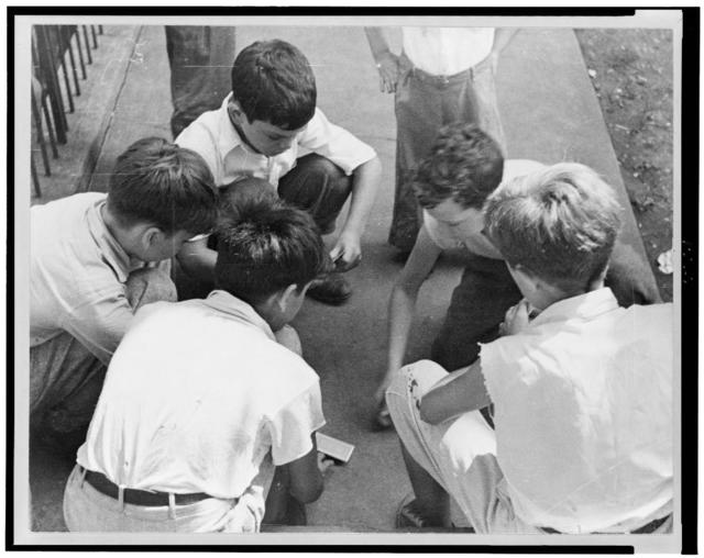 Boys playing cards near Union Station, Washington, D.C.