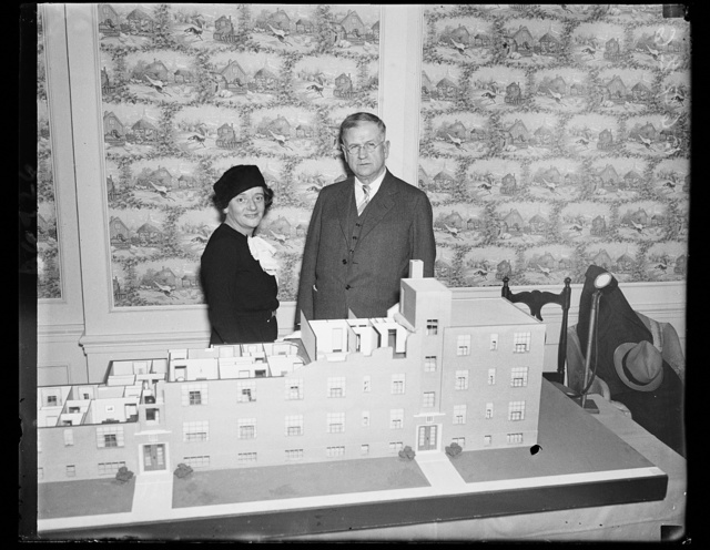 British stateswoman talks housing with Ickes. Hon. Ellen Wilkinson, former Labour Member of British Parliament from Middleboro, discusses slum clearence with Secretary Harold Ickes. The British Stateswoman is an advocate of a national building program to establish comfortable living quarters for those now in slums. She was in Washington in connection with the National Housing Conference, 1/19/35