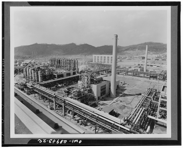 Butadiene production. One of the four butadiene units at the Institute plant at Institute, West Virginia