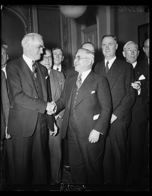 Byrns congratulates new steering committee head. Speaker Joe Byrns, left, congratulates Rep. Adolph Sabath, D. of Ill., on his election today as chairman of the Democratic Steering Committee of the House. Rep. Sabath succeeds Rep. Robert Crosser, D. of Ohio, who is ineligible for re-election under the resolution setting up the committee last Congress. 1/28/35