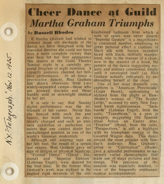 Cheer Dance at Guild Martha Graham triumphs