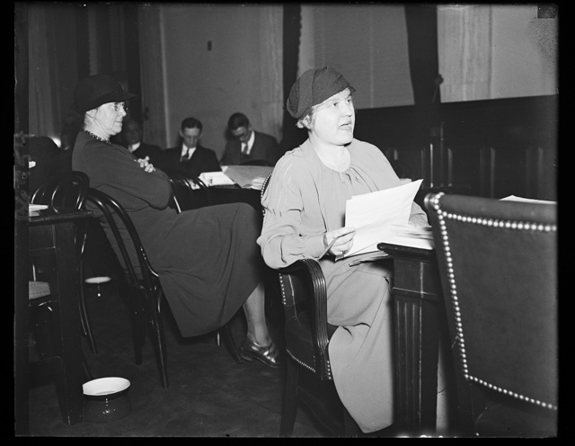 Children's expert testifies on Hill. Katherine [i.e. Katharine] Lenroot of the Labor Department's Childrens Bureau, testifies before the Senate Finance Committee on the Social Security program, 2/4/35