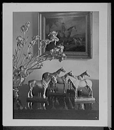 Close ups. Harvey S. Ladew, residence, Pleasant Valley, living room, horses and iris on piano top