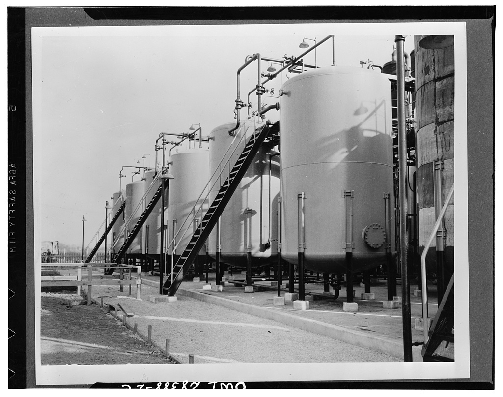 Collecting. Process collection tank containing butadiene. From these tanks the liquid is pumped to the spherical storage tanks shown in picture number 5