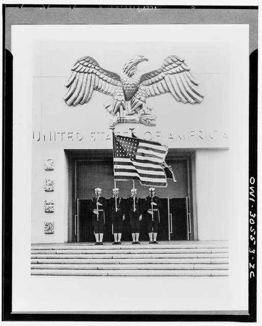 Color guard of the Navy Company at the World's Fair Federal Building in background