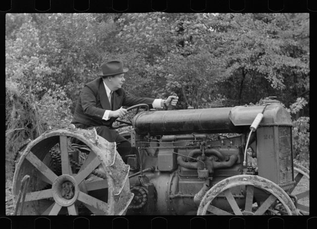 Commissioner Allen operating tractor, Berwyn, Maryland
