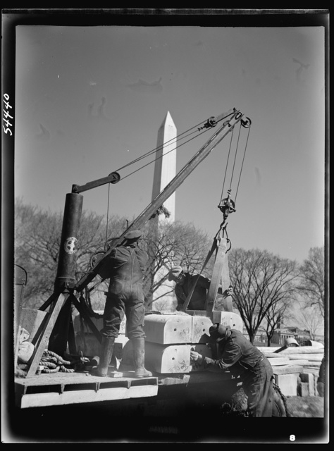 Construction of a million dollar bridge across the Tidal Basin. Archie A. Alexander, Negro, senior partner