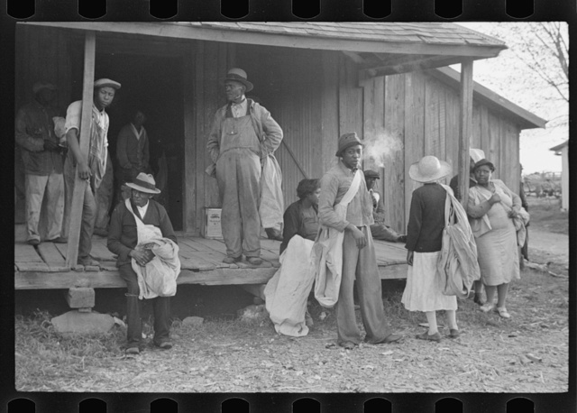 Cotton pickers at 6:30 a.m. ready for day's work, Pulaski County, Arkansas