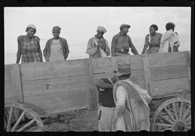 Cotton pickers at end of day's work, Pulaski County, Arkansas