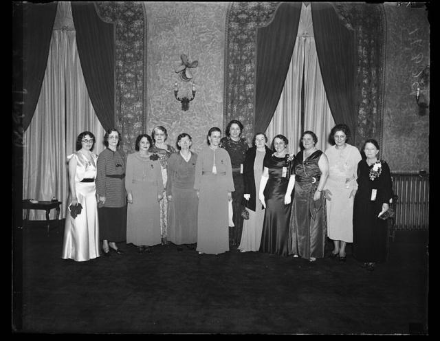 Department presidents attending conference. Left to right are: Hattie B. Trazenfeld, Pa.; Pansy [Dezunzio?], Ky.; Libbie Everett, Ind.; Mary Ross McKay, Ohio; Ida M. Reason, Mich.; Catherine Dintler, D.C.; Evelyn Mauer, Wis.; Alice Henderson, Mass. Catherine Allen (N.Y.); Edyth Mattocks (Ills.); Ida B. Woodward (Ga.)