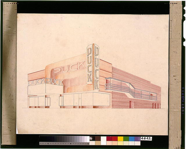 [Design proposal for the Puck Theater (New York City). Perspective]