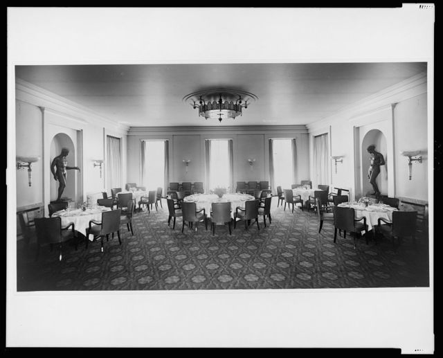 [Dining room, view toward the windows, Reichs Chancellery, Berlin, Germany]