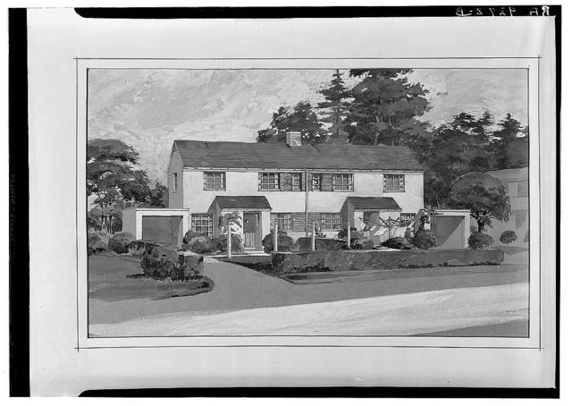 Drawing of model duplex house. Greenbelt project, Maryland