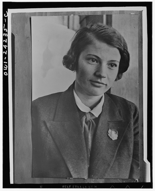 Dusia Vinogradova, a Stakhanovite who is an outstanding textile worker in the USSR (Union of Soviet Socialist Republics)