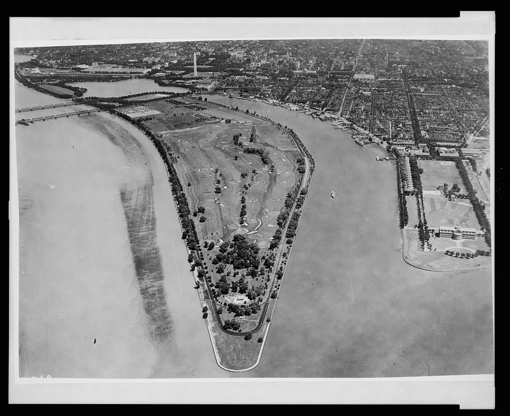 [East Potomac Golf Club (East Potomac Park), Washington, D.C., aerial view from above Hains Point looking north toward the Mall]