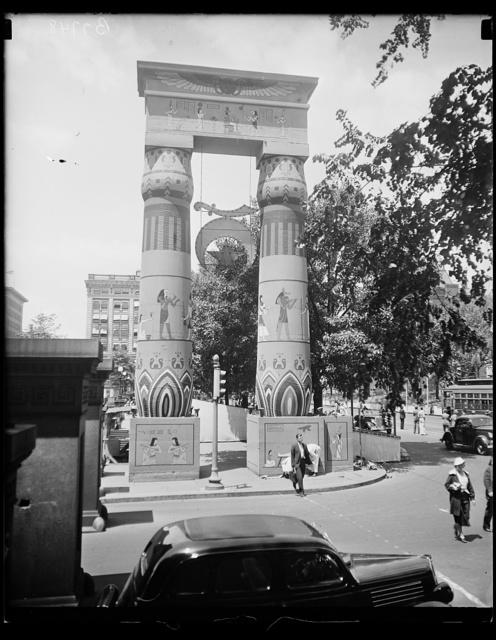 [Egyptian columns with Shriner emblem]