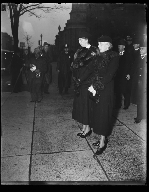 FIRST LADY AT HOLMES FUNERAL. MRS. FRANKLIN ROOSEVELT, LEFT, AND MRS. FELIX FRANKFURTER, WIFE OF A CLOSE FRIEND OF THE LATE OLIVER WENDELL HOLMES, AT HOLMES FUNERAL