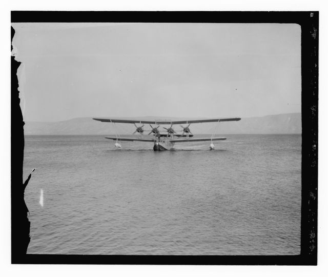 "Flying boat ""Satyrus"" on Sea of Galilee, ca. 1935"