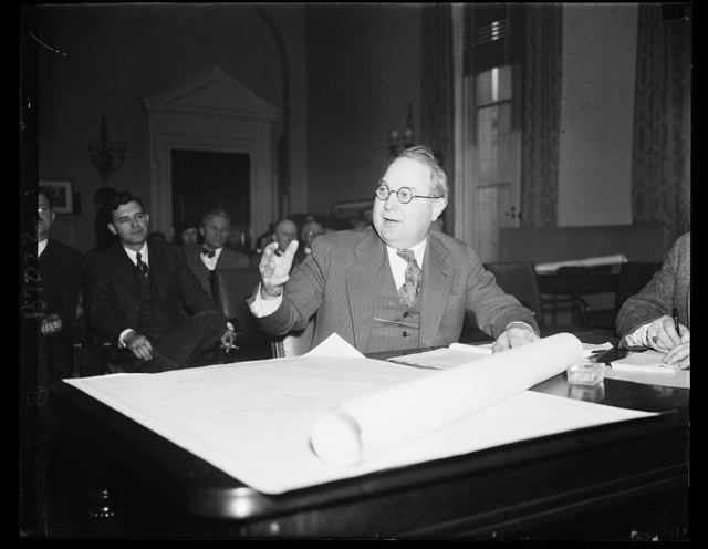 Former congressman at military hearing. Ross Collins, former representative from Mississippi, testifies at the House Military Affairs Committee considering the Wilcox Bill to establish air bases. 2/13/35