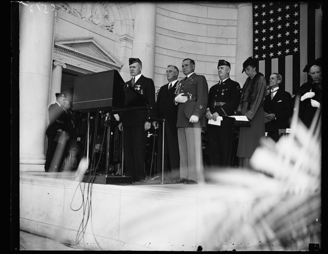 FRANKLIN D. ROOSEVELT AT ARLINGTON ARMISTICE DAY. JOSEPH I. MALLOY SPEAKING