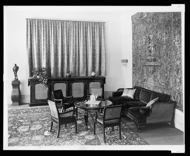[Furnishing, including a radio cabinet, in the salon, Reichs Chancellery, Berlin, Germany]