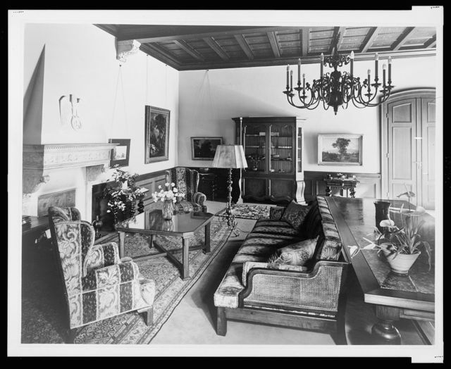 [Furnishings arranged around the smoking room fireplace, Reichs Chancellery, Berlin, Germany]