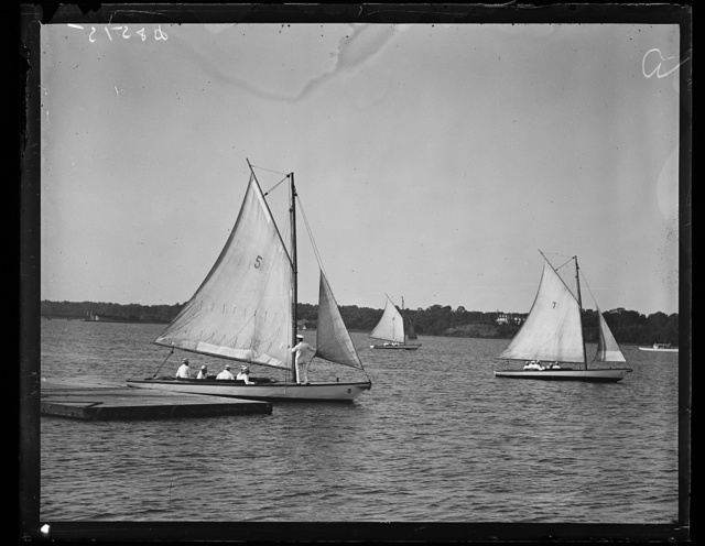 Future admirals learn to sail. This photograph shows members of the plebe class at Annapolis, U.S. Naval Academy, learning to sail as one of the first lessons for the future admirals. 9/20/35