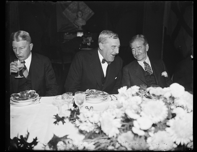 Good for the disposition. The remark which caused the hearty laughter of Sir Ronald Lindsay, left, Ambassador from England, and Secretary of Navy Claude Swanson may have been almost anything. It was a stag affair, a luncheon given by the Secretary for Vice Admiral Matthew R. Best of the Royal Navy. 11/1/35