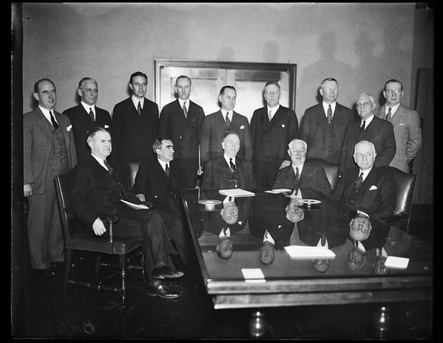[Group; includes, front row: William Bankhead, 2nd from left, Daniel C. Roper, center]